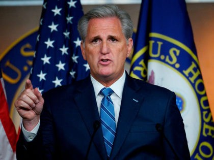 House Minority Leader Kevin McCarthy, republican of California, speaks during his weekly news conference in Washington, DC on September 26, 2019. (Photo by ANDREW CABALLERO-REYNOLDS / AFP) (Photo credit should read ANDREW CABALLERO-REYNOLDS/AFP/Getty Images)