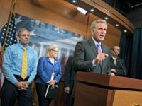 House Republican Leader Kevin McCarthy, D-Calif., joined from left by, Rep. Jim Jordan, R-Ohio, a member of the House Judiciary Committee, Republican Conference chair Rep. Liz Cheney, R-Wyo., and Rep. Doug Collins, R-Georgia, the top Republican on the House Judiciary Committee, criticizes House Speaker Nancy Pelosi, D-Calif., and the Democrats …