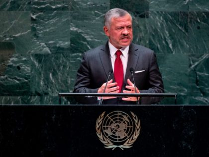Jordan's King Abdullah II speaks during the United Nations General Assembly on September 24, 2019 at the United Nations Headquarters in New York City. (Photo by Johannes EISELE / AFP) (Photo credit should read JOHANNES EISELE/AFP/Getty Images)