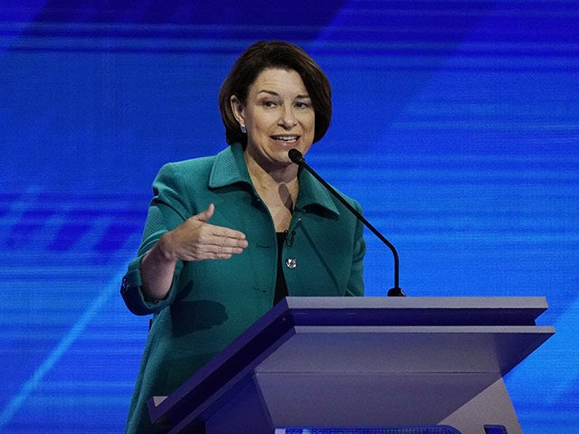 Democratic presidential candidate Sen. Amy Klobuchar, D-Minn., answers a question Thursday, Sept. 12, 2019, during a Democratic presidential primary debate hosted by ABC at Texas Southern University in Houston. (AP Photo/David J. Phillip)