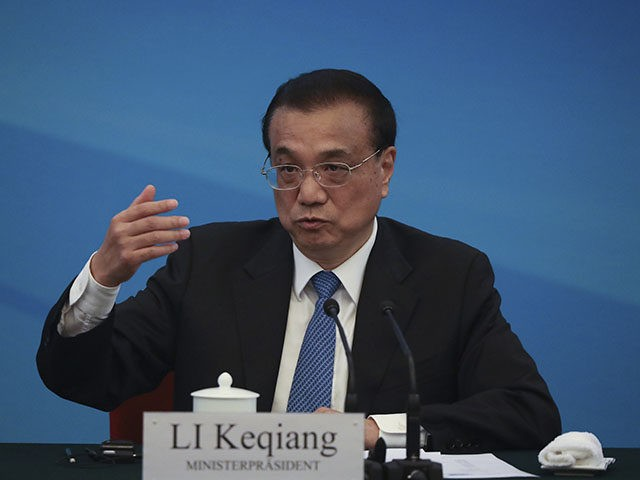 Chinese Premier Li Keqiang gives a speech at the Round Table of the German-Chinese Advised Economic Committee organized by BMWi and MOFCOM as part of the meeting with Chancellor of Germany Angela Merkel at The Great Hall Of The People, in Beijing, Friday, Sept. 6, 2019. (Andrea Verdelli/Pool Photo via …