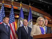 WASHINGTON, DC - SEPTEMBER 18: Conference Chair Liz Cheney (R-WY) speaks to reporters during a press conference on September 18, 2019 in Washington, DC. House Minority Leader Kevin McCarthy discussed Democrats' actions towards impeachment and claimed House Speaker Nancy Pelosi is struggling to maintain control of her party. (Photo by …