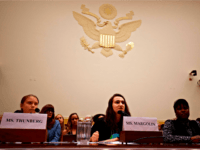This Is Zero Hour co-founder Jamie Argolian (C) speaks as Swedish environment activist Greta Thunberg (L) and Alliance for Climate Education fellow Vic Barrett (R) look on during a joint hearing before the House Foreign Affairs Committee, Europe, Eurasia, Energy and the Environment Subcommittee, and the House Select Committee on …