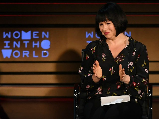 Writer Margaret Atwood (L) and columnist Michelle Goldberg speak onstage at the Women of the World Summit on April 13, 2018 in New York City. / AFP PHOTO / ANGELA WEISS (Photo credit should read ANGELA WEISS/AFP/Getty Images)