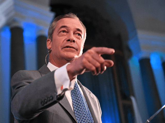 LONDON, ENGLAND - AUGUST 27: Leader of the Brexit Party, Nigel Farage speaks onstage on August 27, 2019 in London, England. The Brexit Party conference held at the Emmanuel Centre is due to reveal plans for a future general election. (Photo by Leon Neal/Getty Images)