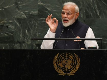 Indian Prime Minister Narendra Modi speaks during the 74th Session of the General Assembly at UN Headquarters in New York on September 27, 2019. (Photo by TIMOTHY A. CLARY / AFP) (Photo credit should read TIMOTHY A. CLARY/AFP/Getty Images)
