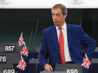 Brexit Party leader Nigel Farage arrives for a debate on Brexit at the European Parliament in Strasbourg, northeastern France on September 18, 2019. (Photo by FREDERICK FLORIN / AFP) (Photo credit should read FREDERICK FLORIN/AFP/Getty Images)