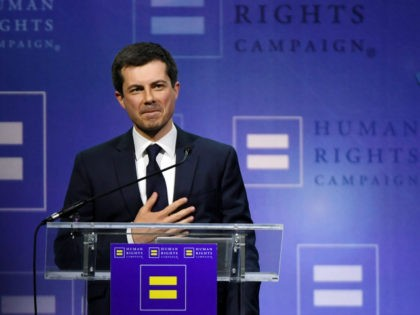 South Bend, Indiana Mayor Pete Buttigieg reacts to the crowd after delivering a keynote address at the Human Rights Campaign's (HRC) 14th annual Las Vegas Gala at Caesars Palace on May 11, 2019 in Las Vegas, Nevada. Buttigieg is the first openly gay candidate to run for the Democratic presidential …