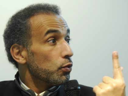Swiss academic Tariq Ramadan takes part in a discussion on Islam in Europe at the Frankfurt Book Fair on October 15, 2008. Turkey is guest of honour at the 60th edition of the book fair, which takes place from October 15 to 19, 2008. AFP PHOTO / JOHN MACDOUGALL (Photo …
