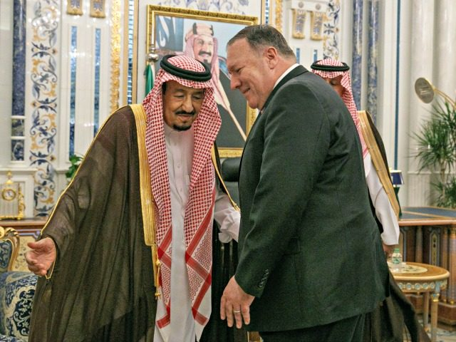 "US Secretary of State Mike Pompeo (R) is received by Saudi King Salman bin Abdulaziz at Al Salam Palace in the Red Sea city of Jeddah on June 24, 2019. - Pompeo traveled to meet with Saudi leaders today to build a ""global coalition"" against the Islamic republic of Iran. …"