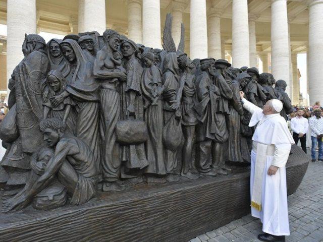 Pope inaugurates migrant sculpture