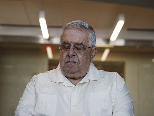 José Ramon López Regueiro listens during a news conference in in Coral Gables, Fla. Wednesday, Sept. 25, 2019, Rivero Mestre LLC filed a Helms-Burton Act lawsuit on behalf of José Ramon López Regueiro against American Airlines and LATAM Airlines Group. The suit claims that the airlines are operating illegally from …