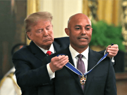 WASHINGTON, DC - SEPTEMBER 16: U.S. President Donald Trump (L) presents the Presidential Medal of Freedom to former New York Yankees player Mariano Rivera in the East Room of the White House on September 16, 2019 in Washington, DC. Rivera who retired in 2013 was unanimously voted into the Baseball …