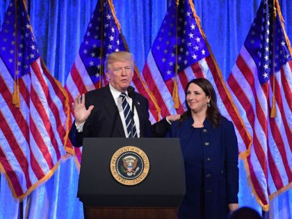 US President Donald Trump speaks after his introduction by RNC Chairwoman Ronna Romney McDaniel at a fundraising breakfast in a restaurant in New York, New York on December 2, 2017. / AFP PHOTO / MANDEL NGAN (Photo credit should read MANDEL NGAN/AFP/Getty Images)
