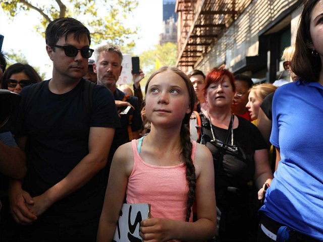 NEW YORK, NEW YORK - AUGUST 30: Swedish climate activist Greta Thunberg, 16, attends a youth led protest in front of the United Nations (UN) in support of measures to stop climate change on on August 30, 2019 in New York City. Thunberg joined dozens of other youths in the …