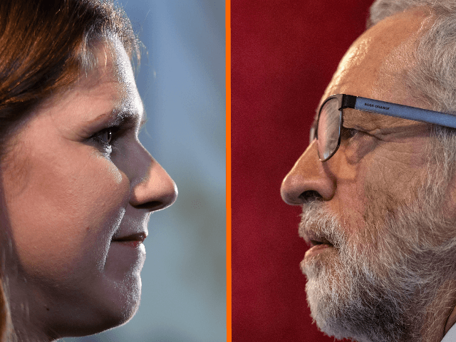 "(L) LONDON, ENGLAND - AUGUST 15: Jo Swinson, leader of the Liberal Democrats gives her first speech as leader on August 15, 2019 in London, England. Jo Swinson has dismissed Labour leader Jeremy Corbyn's plan to install him as caretaker prime minister saying the plan is ""nonsense"" and he is …"