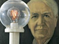 A model of a street light using Thomas Edison's incandescent light bulb (AP Images)