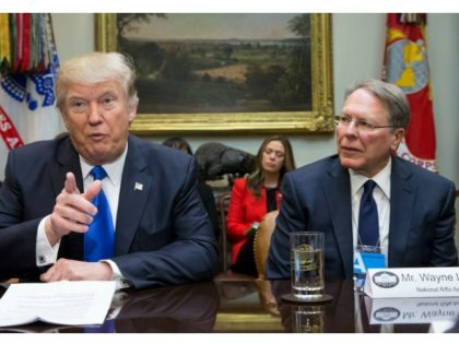 President Donald Trump and NRA CEO Wayne LaPierre in the White House in 2017. Photo: Michael Reynolds - Pool/Getty Images
