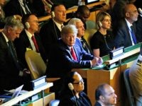 President Donald Trump listens during the the United Nations Climate Action Summit during the General Assembly, Monday, Sept. 23, 2019, in New York. From left, National security adviser Robert C. O'Brien, White House chief of staff Mick Mulvaney, Secretary of State Mike Pompeo, Trump, Vice President Mike Pence, and U.S. …