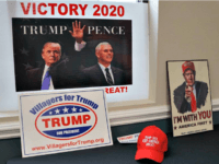 Trump campaign merchandise adorns the recreation center where leaders of several Republican hold meetings in central FloridaLEILA MACOR/AFP/GETTY IMAGES