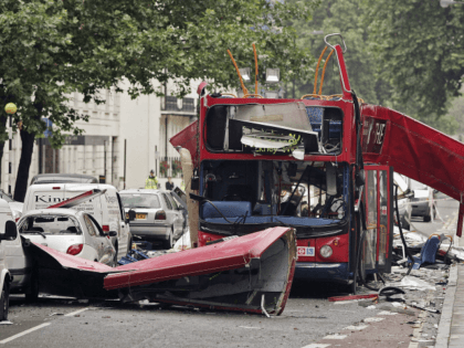 LONDON - JULY 08: A view of the bus destroyed by a bomb in Woburn Place on July 8, 2005 in London. Up to 50 people were killed and 700 injured during morning rush hour terrorist attacks yesterday. (Photo by Peter Macdiarmid/Getty Images)