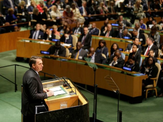 Brazilian President Jair Bolsonaro addresses the 74th session of the United Nations General Assembly at U.N. headquarters Tuesday, Sept. 24, 2019. (AP Photo/Seth Wenig)