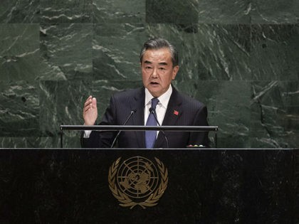 Chinese Foreign Minister Wang Yi addresses the 74th session of the United Nations General Assembly, Friday, Sept. 27, 2019, at the United Nations headquarters. (AP Photo/Kevin Hagen).
