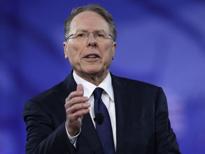 NATIONAL HARBOR, MD - FEBRUARY 24: Wayne LaPierre, Executive Vice President of the National Rifle Association, addresses the Conservative Political Action Conference at the Gaylord National Resort and Convention Center February 24, 2017 in National Harbor, Maryland. Hosted by the American Conservative Union, CPAC is an annual gathering of right …