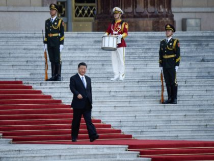 China's President Xi Jinping (bottom) attends a welcoming ceremony for Colombia's President Ivan Duque (not pictured) outside the Great Hall of the People in Beijing on July 31, 2019. (Photo by WANG ZHAO / AFP) (Photo credit should read WANG ZHAO/AFP/Getty Images)