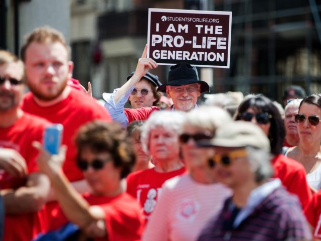 BOSTON, MA - JUNE 17: Supporters of Massachusetts Citizens for Life hold a rally outside the Massachusetts Statehouse on June 17, 2019 in Boston, Massachusetts. Opposing activists were rallying in advance of consideration by lawmakers of measures aimed at loosening restrictions on abortion, including removing criminal penalties for those performed …