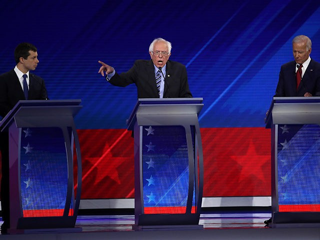 HOUSTON, TEXAS - SEPTEMBER 12: Democratic presidential candidates Sen. Bernie Sanders (I-VT), South Bend, Indiana Mayor Pete Buttigieg and former Vice President Joe Biden on stage during the Democratic Presidential Debate at Texas Southern University's Health and PE Center on September 12, 2019 in Houston, Texas. Ten Democratic presidential hopefuls …