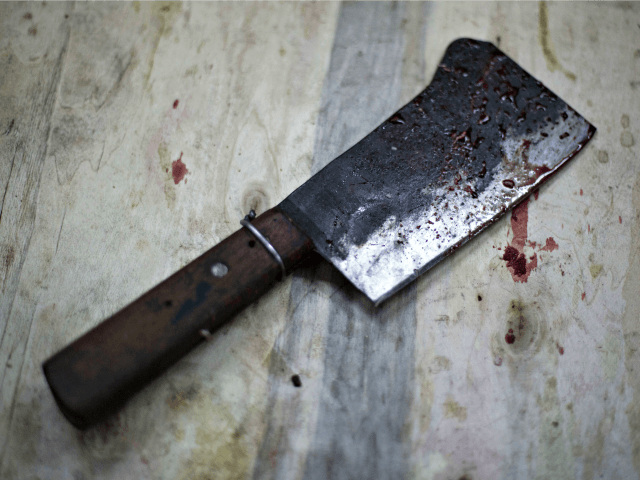 blood-stained cleaver