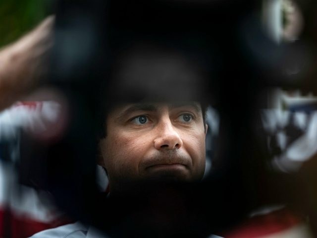 2020 Democratic Presidential hopeful, South Bend, Indiana Mayor, Pete Buttigieg is seen through a camera tripod as he speaks with reporters following a campaign event in Fairfield, Iowa on August 15, 2019. - Buttigieg is campaigning in Iowa discussing his plans to empower rural America. (Photo by Alex Edelman / …