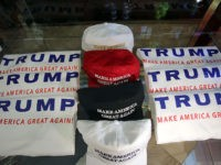 NEW YORK, NY - SEPTEMBER 03: Merchandise of GOP presidential front-runner Donald Trump is viewed for sale at Trump Tower in Manhattan on September 3, 2015 in New York City. Trump held a news conference after he signed a pledge Thursday to support the Republican nominee in the 2016 general …