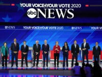 From left, Democratic presidential candidates Sen. Amy Klobuchar, D-Minn., Sen. Cory Booker, D-N.J., South Bend Mayor Pete Buttigieg, Sen. Bernie Sanders, I-Vt., former Vice President Joe Biden, Sen. Elizabeth Warren, D-Mass., Sen. Kamala Harris, D-Calif., entrepreneur Andrew Yang, former Texas Rep. Beto O'Rourke and former Housing Secretary Julian Castro are …