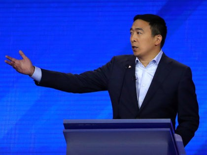 HOUSTON, TEXAS - SEPTEMBER 12: Democratic presidential candidate former tech executive Andrew Yang speaks during the Democratic Presidential Debate at Texas Southern University's Health and PE Center on September 12, 2019 in Houston, Texas. Ten Democratic presidential hopefuls were chosen from the larger field of candidates to participate in the …