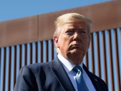 TOPSHOT - US President Donald Trump visits the US-Mexico border fence in Otay Mesa, California on September 18, 2019. (Photo by Nicholas KAMM / AFP) (Photo credit should read NICHOLAS KAMM/AFP/Getty Images)