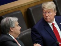 NEW YORK, NY - SEPTEMBER 23: (L-R) United Nations (U.N.) Secretary General Antonio Guterres shakes hands with U.S. President Donald Trump as Vice President Mike Pence looks on at a meeting on religious freedom at U.N. headquarters on September 23, 2019 in New York City. While hundreds of world leaders …