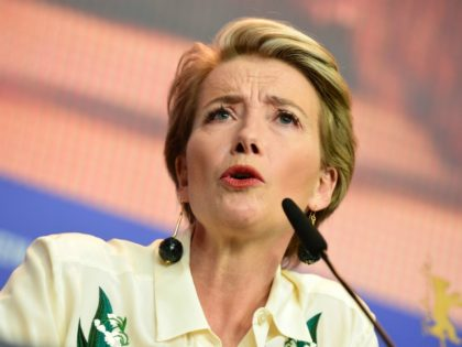 """British actress Emma Thompson answers to journalists during the press conference for the film """"Alone in Berlin"""" by Vincent Perez, screened in competition of the 66th Berlinale Film Festival in Berlin on February 15, 2016. / AFP / John MACDOUGALL (Photo credit should read JOHN MACDOUGALL/AFP/Getty Images)"""