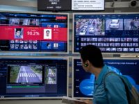 A display for facial recognition and artificial intelligence is seen on monitors at Huawei's Bantian campus on April 26, 2019 in Shenzhen, China. Huawei is Chinas most valuable technology brand, and sells more telecommunications equipment than any other company in the world, with annual revenue topping $100 billion U.S. Headquartered …