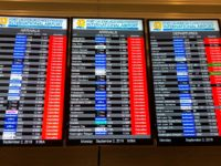 The information board displays all the cancelled flights at the Fort Lauderdale International airport ahead of the arrival of hurricane Dorian at ForT Lauderdale, Florida on September 2, 2019. - Hurricane Dorian battered the Bahamas with ferocious wind and rain, the monstrous Category 5 storm wrecking towns and homes as …