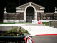 A picture taken on September 13, 2019 shows a large swastika was daubed on the inner wall of the chapel in the British World War II Commonwealth Graves cemetery in Mierlo, east of Eindhoven, Netherlands, on September 13, 2019. (Photo by Rob Engelaar / ANP / AFP) / Netherlands OUT …