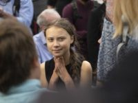 "Swedish environmental activist Greta Thunberg takes part in a media event on Capitol Hill on September 17, 2019 in Washington,DC. - Thunberg spoke forcefully on September 16, 2019 in Washington,DC about the ""destruction"" of the planet and the large-scale deaths that could come about as a result of climate change, …"