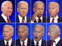 Collage of Joe Biden's facial expressions at the Democratic presidential primary debate in Houston, Texas, on September 12, 2019.