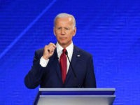 Democratic presidential hopefuls Former Vice President Joe Biden (L), Massachusetts Senator Elizabeth Warren (C) and California Senator Kamala Harris (R) speak during the third Democratic primary debate of the 2020 presidential campaign season hosted by ABC News in partnership with Univision at Texas Southern University in Houston, Texas on September …