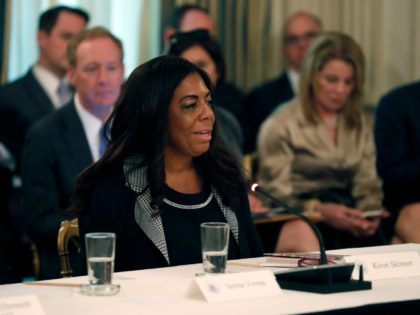 Kiron Skinner, Director and Associate Professor, Institute for Politics and Strategy at Carnegie Mellon University, speaks during an American Technology Council roundtable in the State Dinning Room of the White House, Monday, June 19, 2017, in Washington. (AP Photo/Alex Brandon)