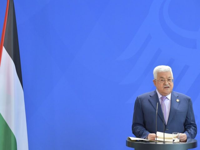 Palestinian President Mahmud Abbas addresses journalists before talks at the Chancellery in Berlin on August 29, 2019. (Photo by Tobias SCHWARZ / AFP) (Photo credit should read TOBIAS SCHWARZ/AFP/Getty Images)