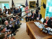 WASHINGTON, DC - SEPTEMBER 04: U.S. President Donald Trump (R) talks to reporters following a briefing from officials about Hurricane Dorian in the Oval Office at the White House September 04, 2019 in Washington, DC. Trump was briefed by (2nd R-L) acting Homeland Security Secretary Kevin McAleenan, Deputy Assistant to …