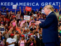 "donald trump rally US President Donald Trump arrives for a ""Keep America Great"" campaign rally at The Crown Arena in Fayetteville, North Carolina, on September 9, 2019. (Photo by JIM WATSON / AFP) (Photo credit should read JIM WATSON/AFP/Getty Images)"