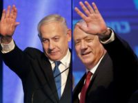 This combination picture created on September 18, 2019 shows, Benny Gantz (R), leader and candidate of the Israel Resilience party that is part of the Blue and White (Kahol Lavan) political alliance, waving to supporters in Tel Aviv early on September 18, 2019, and Israeli Prime Minister Benjamin Netanyahu addressesing …